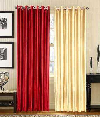 Sls Dreams Polyester Red, Beige Plain Eyelet Long Door Curtain
