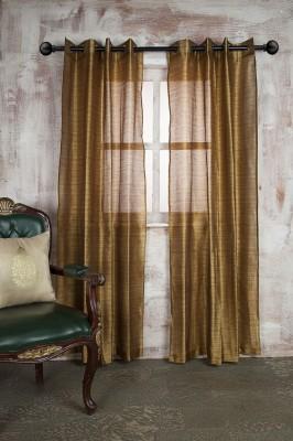 Marigold Polyester Yellow Self Design Eyelet Long Door Curtain