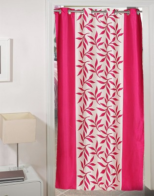 AJ Retails Polyester Stylish Pink, Chic White Floral Eyelet Door Curtain