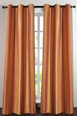 Deco Essential Polyester Rust/Gold Plain Eyelet Window Curtain