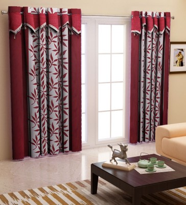 Home Candy Polyester Maroon Abstract Eyelet Door Curtain