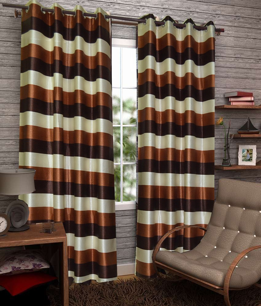 Fabbig Polyester Brown Striped Eyelet Window Curtain