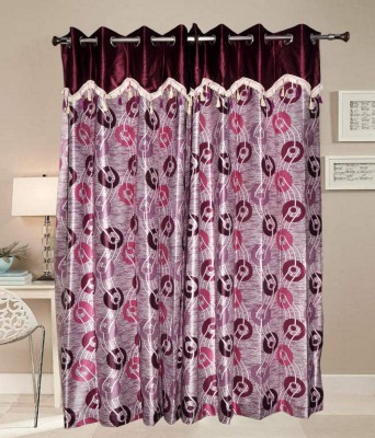 PHM Polyester Maroon Floral Eyelet Long Door Curtain
