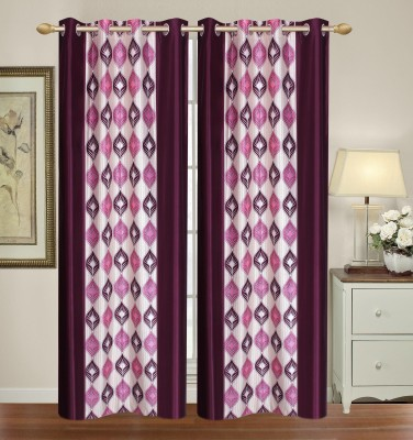 HomeTex Polycotton Purple Printed Eyelet Long Door Curtain
