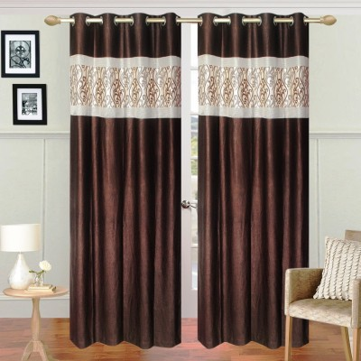 The Intellect Bazaar Polyester Brown Abstract Eyelet Long Door Curtain