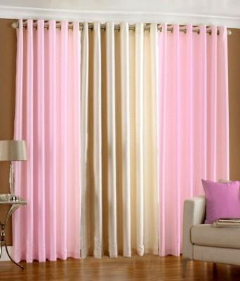 The Decor Hub Polyester Baby Pink, Cream Plain Eyelet Long Door Curtain