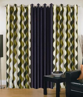 Ech Oly Polyester Multicolor Solid Concealed Tab Top Door Curtain