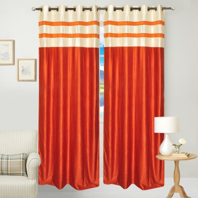 Fresh From Loom Polyester Orange Abstract Curtain Door Curtain