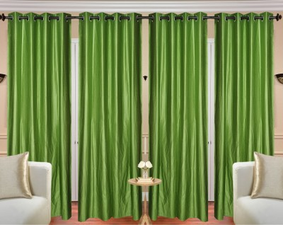 Fresh From Loom Polyester Green Plain Curtain Long Door Curtain