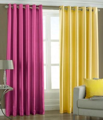 Jai Ganga Polyester Pink and yellow Plain Curtain Long Door Curtain