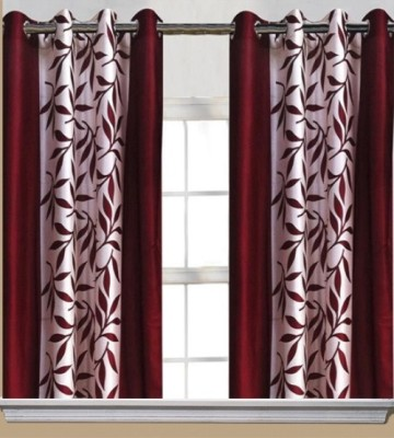 Chaitnya Handloom Polyester Maroon Floral Eyelet Window Curtain