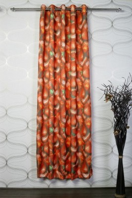 Titu Polyester Red Abstract Eyelet Door Curtain