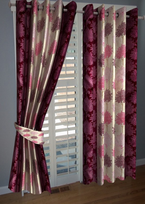 BNA Decor Polyester Pink Floral Eyelet Window Curtain(153 cm in Height, Pack of 2)