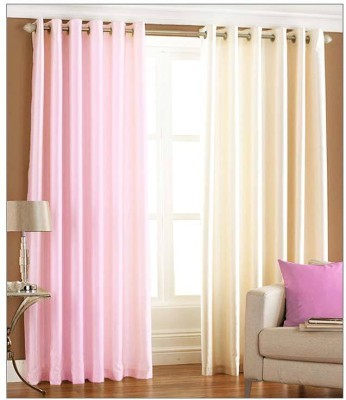 Sls Dreams Polyester Pink, Beige Plain Eyelet Window Curtain