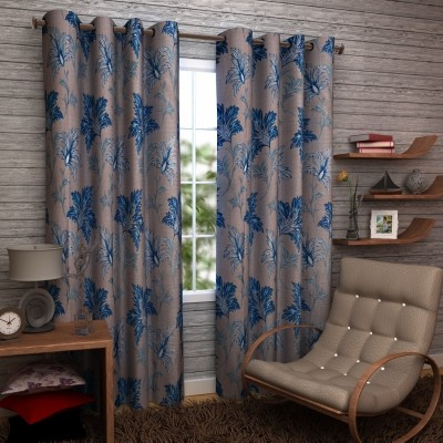 Enfin Homes Polyester Blue Solid Eyelet Door Curtain