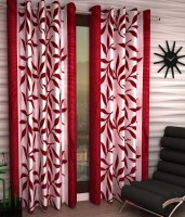 Home Pictures Polyester Red Abstract Ring Rod Window Curtain(152 cm in Height, Pack of 2)