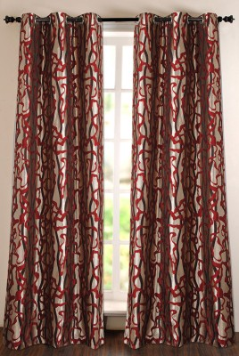 Deco Window Polyester Red Self Design Eyelet Door Curtain