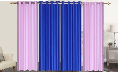 Furnishing Zone Polyester Pink, Blue Plain Eyelet Long Door Curtain