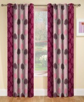 RS Quality Polyester Maroon Floral Curtain Window Curtain(150 cm in Height, Pack of 2)
