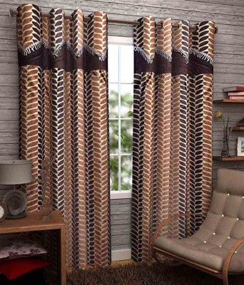 Divine Polyester Brown Abstract Eyelet Door Curtain
