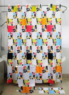 Skap Polyester White Abstract Ring Rod Shower Curtain