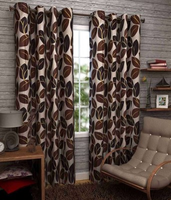 PHF Polyester Brown Floral Eyelet Window Curtain