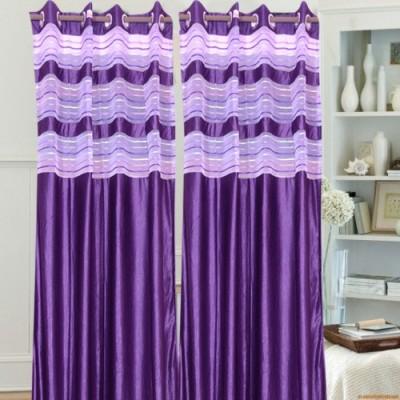 Swastik Polycotton Purple Plain Eyelet Long Door Curtain