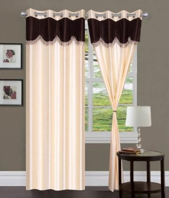 Jai Ganga Polyester Cream Plain Curtain Door Curtain