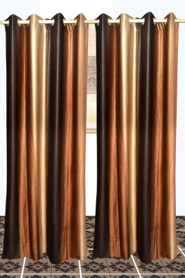 SS Decor Polyester Brown, Coffee Plain Eyelet Window & Door Curtain