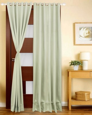 Just Linen Polyester Sea Green Solid Eyelet Door Curtain