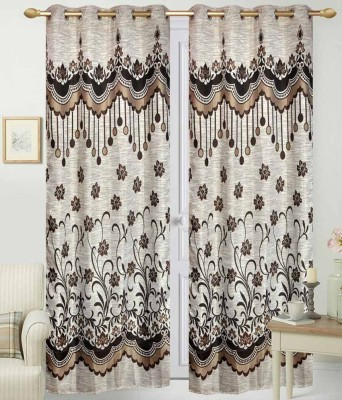 STC Jacquard Brown Self Design Eyelet Long Door Curtain