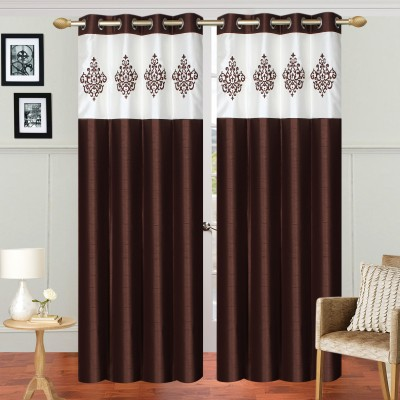 Abhi Décor Polyester Brown Embroidered Curtain Long Door Curtain