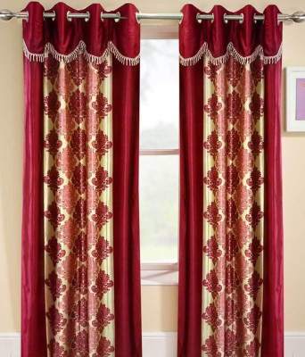 Deco Home Polyester Maroon Printed Eyelet Door Curtain