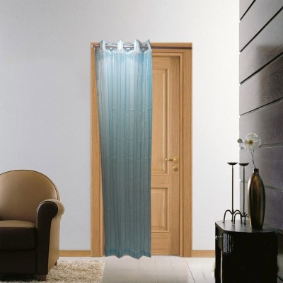 Furnishing Centre Polyester Light Blue Striped Eyelet Door Curtain