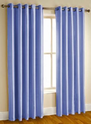 Kwality Polyester Blue Plain Eyelet Door Curtain