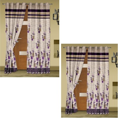 Story @ Home Jacquard Brown Abstract Eyelet Door Curtain