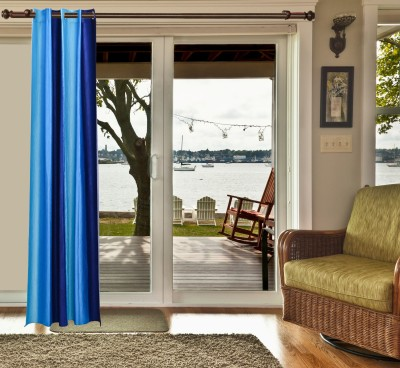 sachidanand solutions Polyester Blue Solid Eyelet Window & Door Curtain