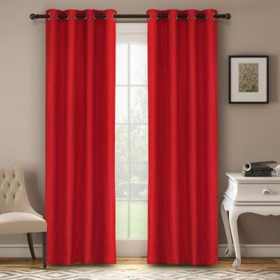 Soumya Polycotton Red Plain Eyelet Window Curtain