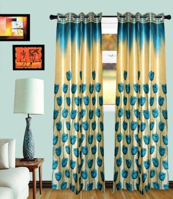 MF Polycotton Acqa Blue Floral Eyelet Door Curtain