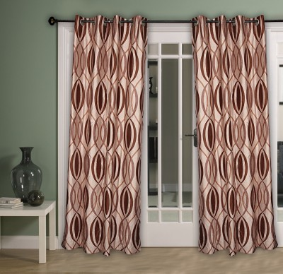 Home Aid Polyester Brown Abstract Ring Rod Door Curtain