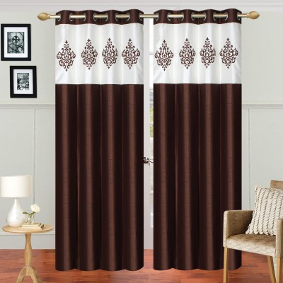 Abhi Decor Polyester Brown Embroidered Curtain Door Curtain