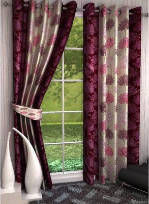 sapphires Polyester Multicolor Printed Eyelet Window & Door Curtain