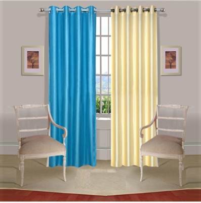 Fogg Polyester Blue, Beige Self Design Ring Rod Door Curtain