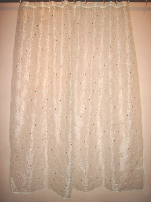 Little Home Polyester White, Brown Embroidered Ring Rod Window & Door Curtain