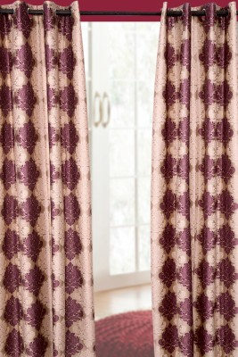 Jds Polyester Beige Floral Ring Rod Door Curtain