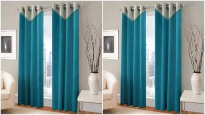 BSB Trendz Polyester Light Blue Printed Eyelet Door Curtain
