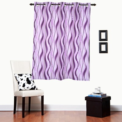 Luk Luck Home Polycotton Violet Printed Ring Rod Window Curtain