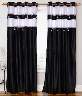STORE17 Polyester Black Plain Eyelet Window & Door Curtain