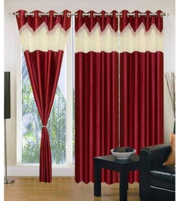 Raj Shobha Home Decor Polyester Maroon Self Design Eyelet Door Curtain