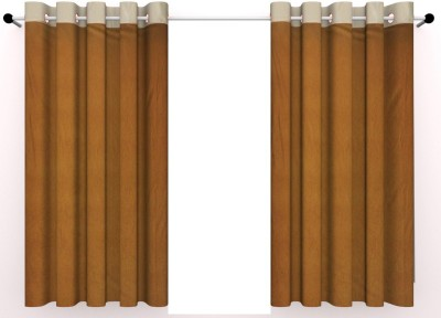 Vinis Cotton Brown Printed Ring Rod Window Curtain